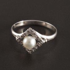 Weißgold Ring Perle Brillanten