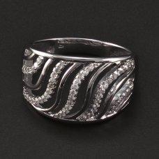 silberne rhodinierte Ring mit Zirkonia