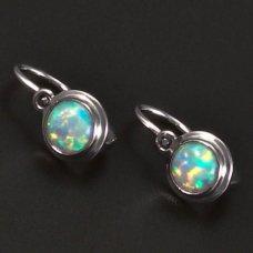Silberkinderohrringe mit weißem Opal