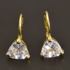Goldene Ohrringe mit dreieckigem Zirkon
