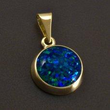 Goldener runder Anhänger mit Opal