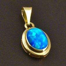 Anhänger aus Gelbgold mit blauem Opal
