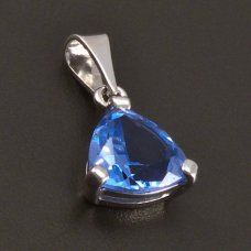 Silberanhänger dreieckiger Aquamarin