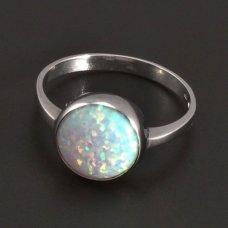 Silberring mit rundem weißem Opal