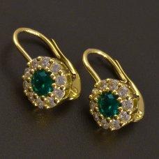 Gelbgoldohrringe mit rundem Smaragd