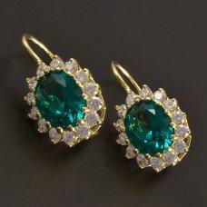 Goldohrringe mit ovalem Smaragd