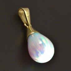 Gold-Anhänger mit weißem opal