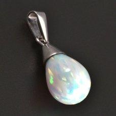 Weißgoldener Anhänger  mit weißem opal