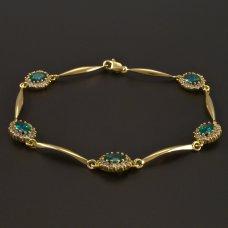 Goldarmband mit synt. Smaragd, Zirkone