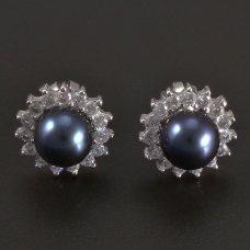 Weißgoldene Ohrrstecker mit schwarze Perle