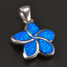 Silberanhänger-Opal-Blume