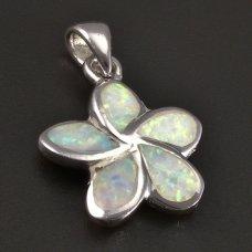 Blume-Silberanhänger-Opal