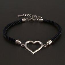 Schwarz-Silberarmband-Herz