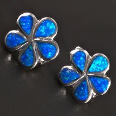 Blumen-Silberohrringe-Opal