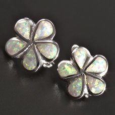 Opal-Silber-Ohrringe Blumen