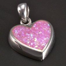 Silberanhänger- rosa Herz
