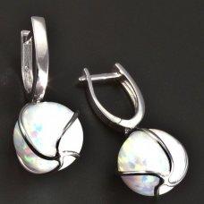 Silber-Ohrhänger-weiß Opal