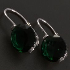 Silber-Ohrringe-grün Zirkon