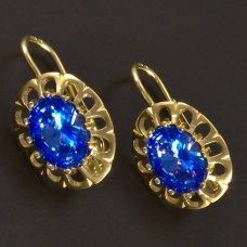 Goldene Ohrringe mit synth.Aquamarin