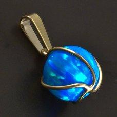 Goldanhänger blau Opal