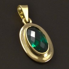 Gold-Anhänger-synth.Smaragd