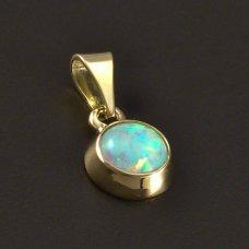 Goldene Anhänger mit weißem Opal 585