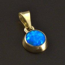 Goldene Anhänger mit blauem Opal 585