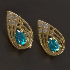 Goldene Ohrringe mit Zirkon