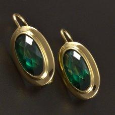 Goldene Ohrringe mit synth.Smaragd