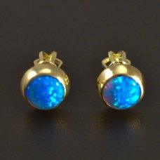 Goldene Ohrringe mit blauem Opal