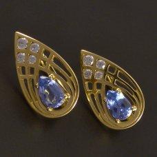 Goldene Ohrringe mit Aquamarin