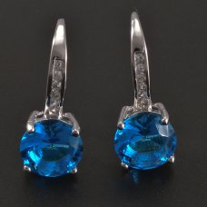 Silberohrringe mit blauem Zirkon