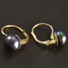Goldene Ohrringe mit schwarzer Perle