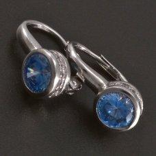 Silberohrringe mit hellblauem Zirkon