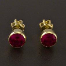 Ohrstecker-Gold-Durchmesser 5mm-Rubin