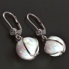Ohrringe mit Opalkugeln Weißgold