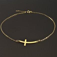 Goldfußkette mit Kreuz
