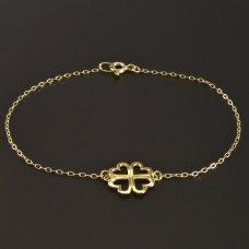 Goldarmband mit vierblättrigem Kleeblatt