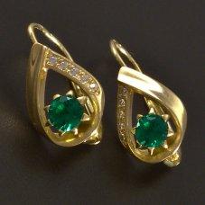 Goldene Ohrringe mit grünemZirkon