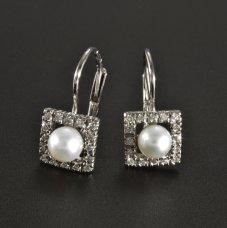 Weißgold Ohrringe Brillante Perle