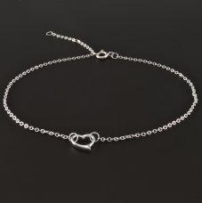 Silber Fußkette mit Herz