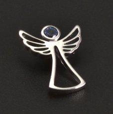 Silberanhänger Engel mit Aquamarin