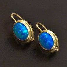Gold Ohrringe mit ovalen blauen Opal