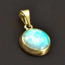 Der goldene runde Opalanhänger