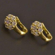 Gold Mädchen Ohrringe mit rosa Steine und Zirkonen