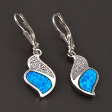 Silberne Ohrringe-Opal und Zirkone