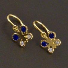 Ohrringe Schmetterling mit blauen Steinen
