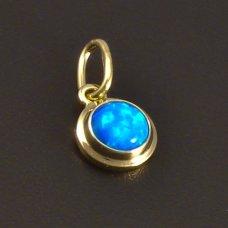 Kleiner runder Anhänger mit blauem Opal
