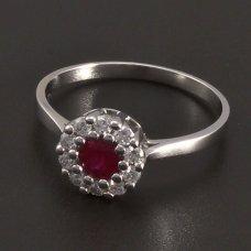 Weißgoldring mit Rubin und Diamanten