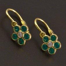 Kinder-Ohrringe Blumen grün